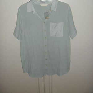 NWT SOFT SURROUNDINGS TEAL SS BUTTON FRONT TUNIC